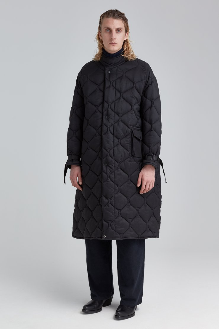 Quilted Long Cape Coat Black Parachute Nylon - Our Legacy : long black quilted coat - Adamdwight.com