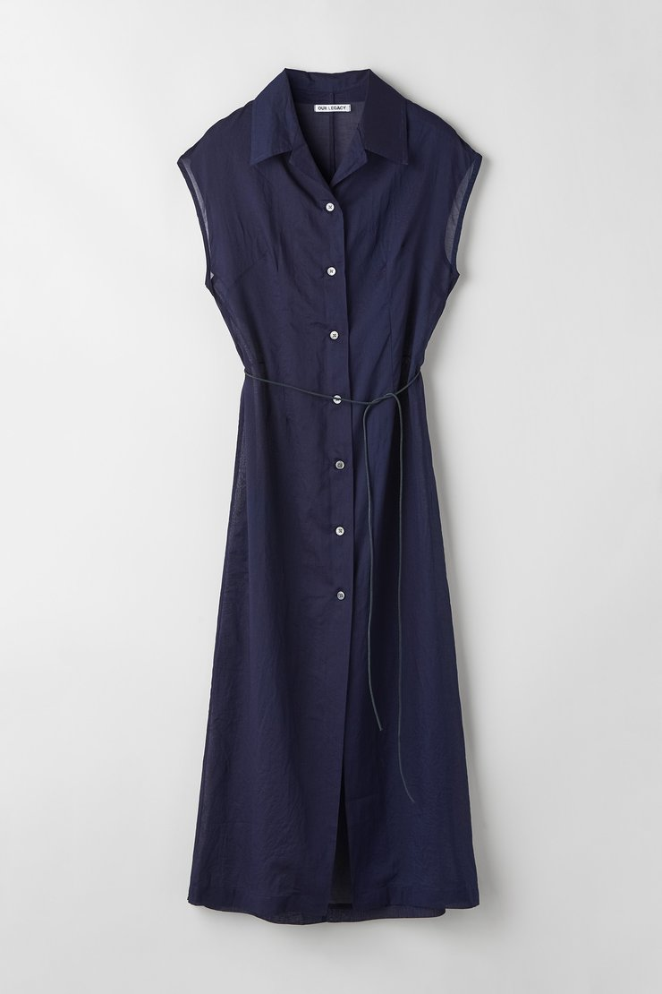 NARROW SLEEVELESS SHIRT DRESS