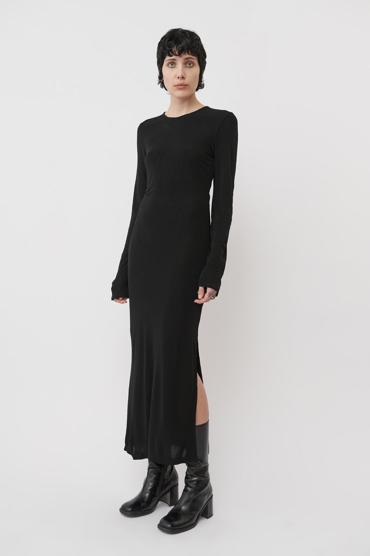 RIB DRESS LONG SLEEVE